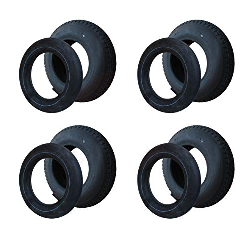 4 Set Reifen+Schlauch 400x100 4.80/4.00-8 Stollen Profil PR4-Lagen Tragfähigkeit 305 kg