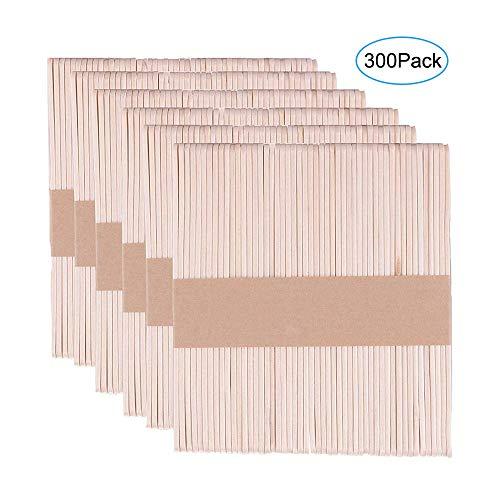 BluVast 300 Stücke Eisstiele, Eisstiele aus Holz,11.4 cm lang,1 cm breit, Holzstiele, Holzspatel zum basteln, Holzstäbchen für Basteln DIY Handwerk