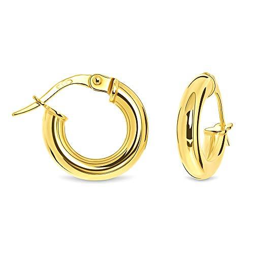 Miore Ohrringe Damen klassische Creolen aus Gelbgold 9 Karat / 375 Gold, runde Ohrschmuck 14 x 14 mm