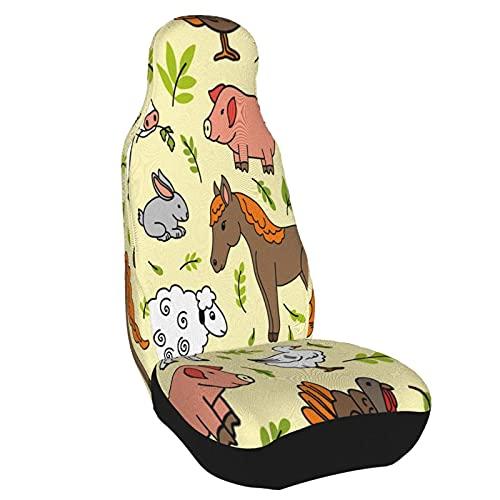 Funda de asiento para coche, oveja, conejo, pollo, vaca, burro, pato, cerdo, gallina, caballo, amarillo, funda para silla de coche, Protector Universal para asiento delantero de coche, 1 pieza