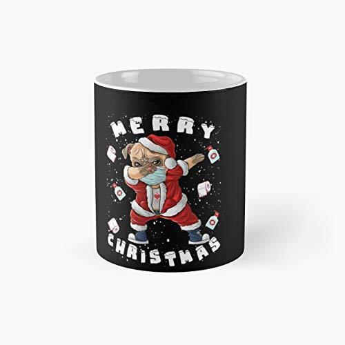 Merry-christmas-2020-dog-santa-pug-christmas-traje-regalo-manga larga- taza clsica | Mejor regalo divertido tazas de caf 11oz