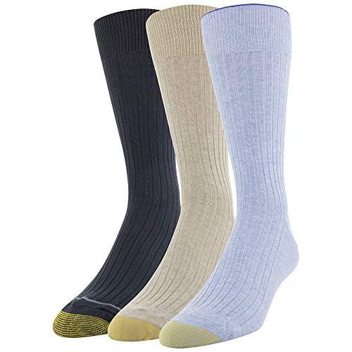 Gold Toe Men's Canterbury Crew Socks, 3 Pairs, Blue/Tan/Navy, Shoe Size: 6-12.5
