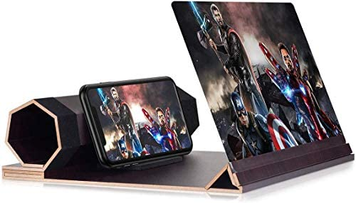 12'' Screen Magnifier for Smartphone – Mobile Phone 3D Magnifier Projector Screen for Movies, Videos, and Gaming – Foldable Phone Stand with Screen Amplifier – Compatible with All Smartphones