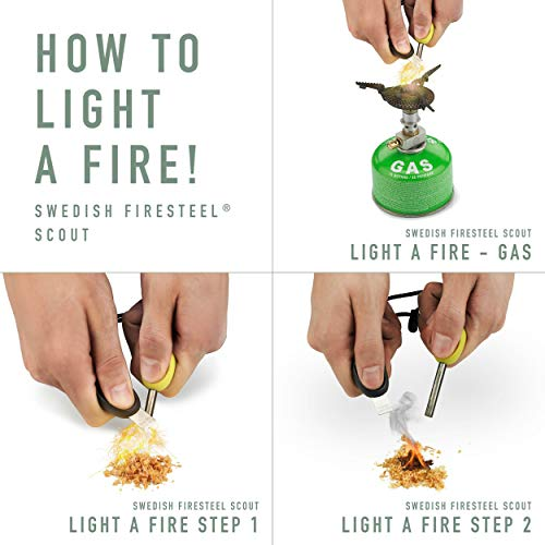 Light my Fire fire steel - SWEDISH FIRESTEEL BIO SCOUT 2in1 portable natural flint and steel -fire starter kit with emergency whistle - Made in Sweden - bushcraft steel wool for camping fire