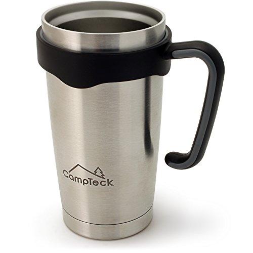 CampTeck 600ml Doppelwandig Vakuum Edelstahl Isolierter Tumbler Trinkbecher Thermobecher für Kalte & Heiße Getränke – Silber