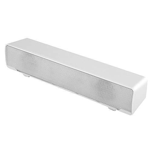 Lazmin Barra de Sonido portátil, USB Estéreo con Cable Barra de Sonido Reproductor de música Bass Surround Sound Box con Conector de Audio de 3,5 mm para PC, teléfonos celulares(Blanco)