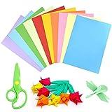 NATUCE 100 Hojas Papel Origami Doble cara A4 y 1 Tijera de Plástico, Papel para Origami para Proyectos de Arte y Manualidades, 10 Colores Origami Papel, 297 * 210mm