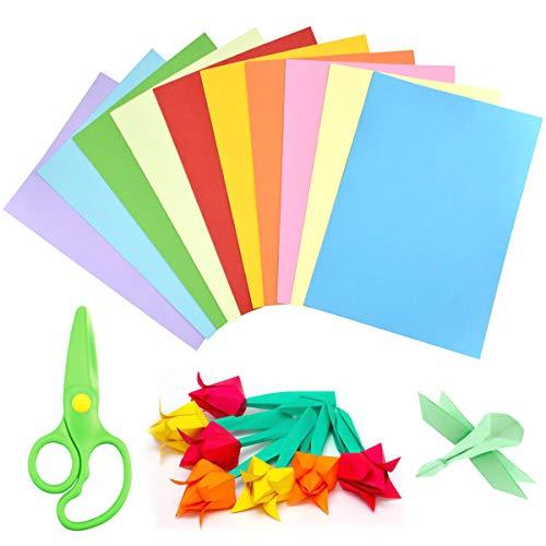 NATUCE 100 Fogli Carta Origami e 1 Forbice di Plastica, Carta Colorata A4 Colori Assortiti, Carta Origami Bicolore, 10 Colori, 297x210mm