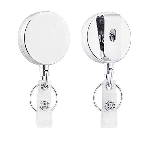 Badge Reel, Retractable Badge Holder with Belt Clip Key Ring for ID Card Keychain,Heavy Duty Silver Metal Badge Reel Name Card Holder for Key Card & Work Badge,25.5 inch Steel Wire Cord Reel