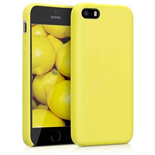 kwmobile Funda Compatible con Apple iPhone SE (1.Gen 2016) / 5 / 5S - Carcasa de TPU para móvil - Cover Trasero en Amarillo Pastel