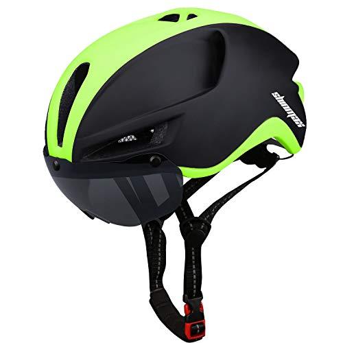 Shinmax Casco de Bicicleta MTB,Casco Bicicleta para con Magnética Visera, Casco MTB con Luz Trasera LED Recargable,Cuerda de Seguridad Reflectante Ligero Casco Bicicleta Adultos 60-64CM (RC-088)
