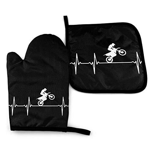 Dirt Bike - Juego de 2 guantes para horno y soporte para ollas