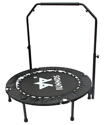 """KL KLB Sport 40"""" Foldable Mini Trampoline, Fitness Rebounder with Adjustable Foam Handle, Exercise Trampoline for Kids Adults Indoor/Garden Workout Cardio Max Load 330lbs"""