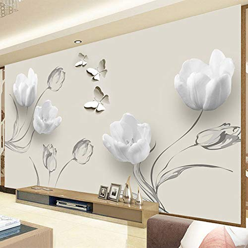 Eigen 4D muurschildering groot behang, abstracte elegante witte magnolia bloemen en vlinders, moderne Hd-zijde muurschildering poster afbeelding televisie sofa achtergrond muur decoratie voor woonkamer 400cm(W)×250cm(H)|13.12×8.2 ft