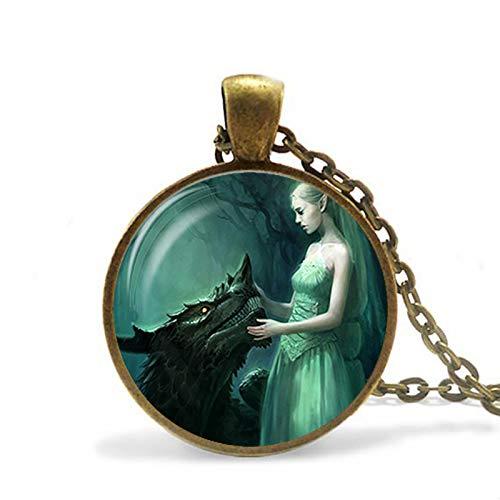 Halskette mit Flügel-Drachen-Motiv, Glas, lange Kette, Drachen-Anhänger, für Mann und Frau, Schmuck, Vintage-Geschenk