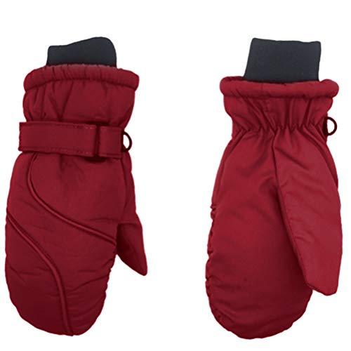 Guantes de esquí para niños, impermeables y resistentes al viento, con cierre de velcro, transpirables, térmicos, cálidos, para niños y niñas de 2 a 8 años, color rojo