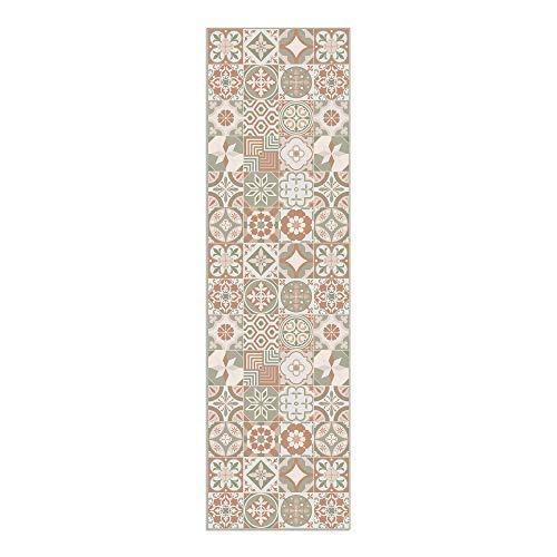 Alfombra Vinílica, 210 x 60 cm, Baldosas, Alfombra de Vinilo para Salón, Cocina, Baño y Pasillo, Spring, ALV-049-SP