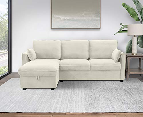 Abbyson Living Fabric Upholstered Chaise and Storage Sofa Sectional, Ivory