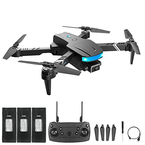 HRTX Quadcopter Telecomando Pieghevole, Drone per Adulti E Bambini, Dotato di Doppia Fotocamera Full HD 1080p, Adatto per Principianti, 30 Minuti di Durata della Batteria,Battery x3
