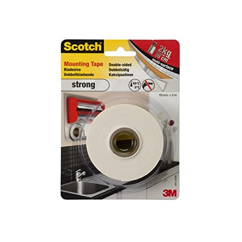 Scotch Strong 40011950B Nastro Biadesivo in Schiuma, Bianco, 5m x 19 mm