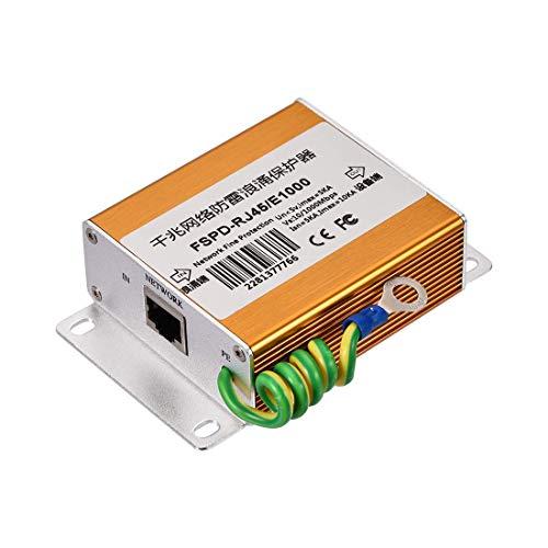 N A Ethernet Surge Protector for 10 100 1000 Base-T Gigabit Modem Thunder Lightning Protection Golden 100 x 66 x 29 mm