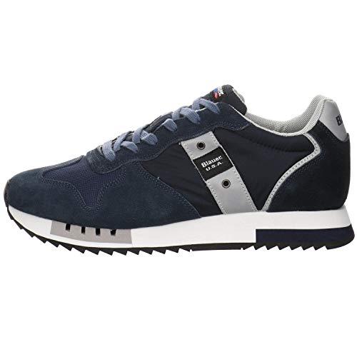 Blauer Scarpe Sneaker Running Queens in Suede/Tessuto Blu Navy Uomo US21BU01 42