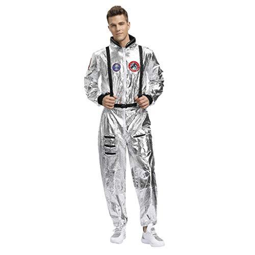 FRAUIT Silber Herren Jumpsuit Cosplay Festlich Kostüm Raumanzug Overalls Festlich Hoodie Trainingsanzug Jogger Karneval Kapuzenpullover 3D Printed Onepiece Sweatshirt Männer Bekleidung