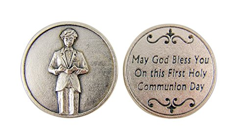 Silver Toned Pocket Medal with Praying Boy