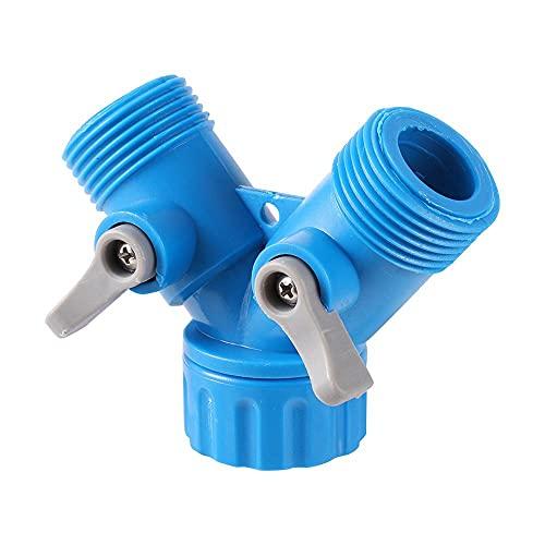 Accesorios de tuberia Pantalones de plomería de flujo de agua divisor de 2 vías Agricultura Invernadero Agua Accesorios de enfriamiento de agua Y válvula de 3/4 pulgadas Hilo macho 1 PC El plastico