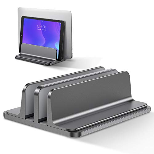 Bewahly Doppelt Vertikaler Laptop Ständer, Aluminium Verstellbarer Notebook Ständer Platzsparender Halterung für MacBook Pro/Air, iPad, Samsung, Huawei, Surface, Dell, HP, Lenovo und andere (Grau)