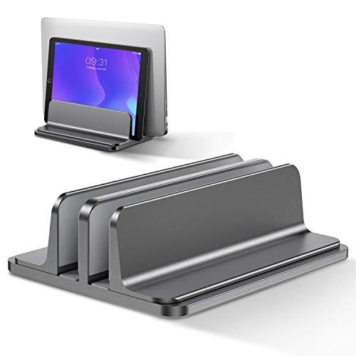 Bewahly Soporte Portátil Vertical Dual, Vertical Soporte para Ordenador Portatil de Aluminio con Base Ajustable para Macbook Pro Air, HP, DELL, Surface, Lenovo y Otros Portatiles, Laptop Stand (Gris)