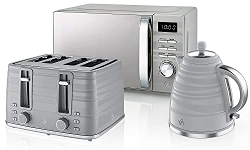 Swan Symphony Kettle, Microwave, and 4-Slice Toaster Set in Grey, Stylish Design, Energy Efficient, STRP1026GRN