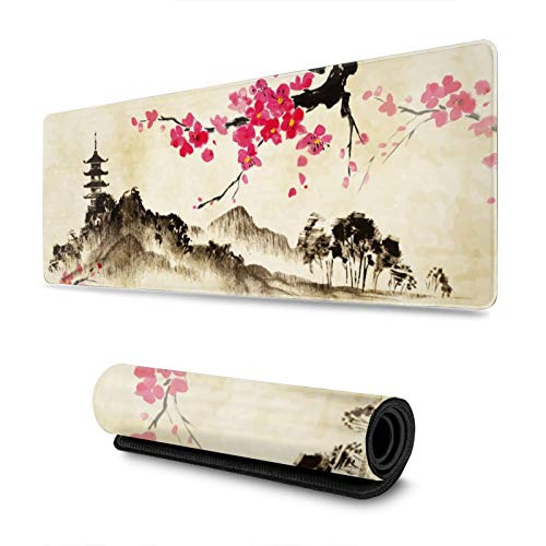 Japanese Watercolor Sakura Lake and Hills Gaming Mouse Pad XL, Extended Large Mouse Mat Desk Pad, Stitched Edges Mousepad, Long Non-Slip Rubber Base Mice Pad, 31.5 X 11.8 Inch