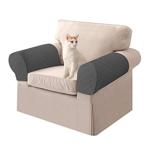 Armlehnenbezüge Couch - 1 Paar Graue Armlehnenbezug Sofa, Armlehnenschoner Für Sofa Sessel, Verdickter Anti-Rutsch-Effekt Armlehnenpolster|Armlehnenschoner - Armlehnen Bezüge Für Stühle Möbelprotektor