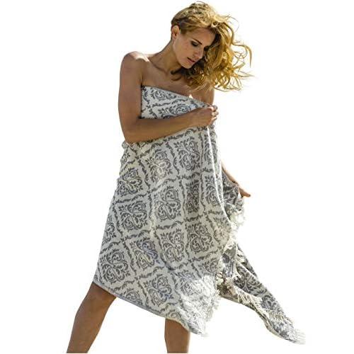 Carenesse Asciugamano di Hammam BAROCCO griggio, nobile e di alta qualità Asciugamano di Hamam Doubleface, 100% cotone, 90 x 175 cm, telo mare, asciugamano sauna, scialle, sciarpa, pareo, stola