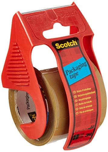 Scotch Nastro da Imballo 3M Packaging Tape Heavy/Nastro Adesivo Ultra Resistente, Confezione da 1 Rotolo e 1 Avana Dispenser, Marrone, 50 mm x 20 m