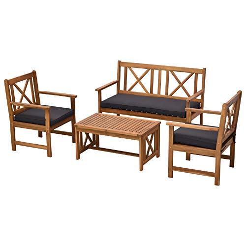 Outsunny Salotto da Esterni in Legno di Acacia | Set 4 Pezzi Mobili da Giardino: Divano, Poltrone, Tavolino con Cuscini