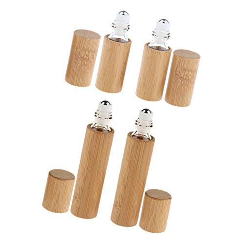 Generic 4pièces Roll-on Huile Essentielle Vide Flacon en Bambou avec Bille en Acier Container Rechargeable Cosmétique Portable