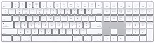 Apple Magic Keyboard with Numeric Keypad (Wireless, Rechargable) (US English) - Silver Apple Aluminum Rechargeable Battery