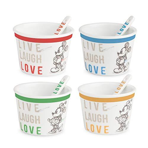 Egan Set 4 Eisbecher mit Löffel Live Laugh Love, Porzellan, Elfenbein, Small