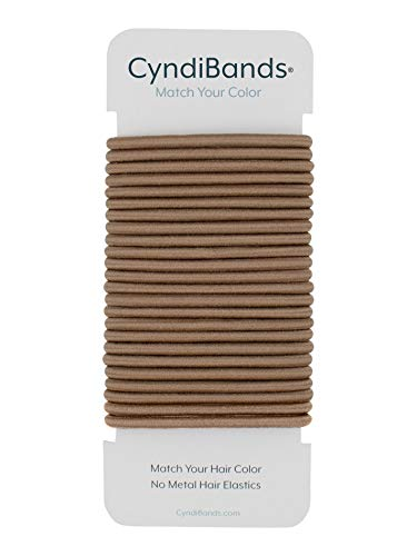 Cyndibands Light Ash Brown No-Metal 4mm, 1.75 Inch Hair Elastics, Ponytail Holders, Hair Ties - 24 Count
