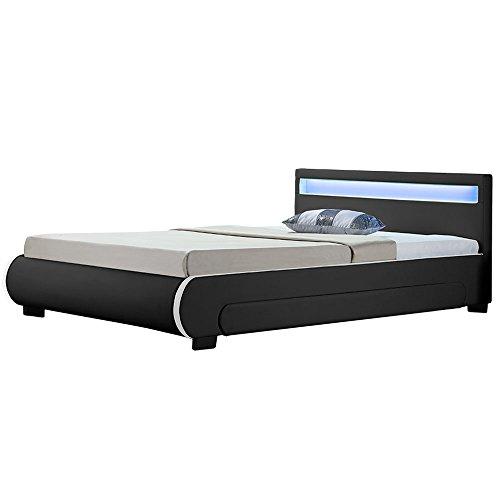 Juskys Polsterbett Bilbao 140x200 cm schwarz mit Bettkasten, Led-Beleuchtung & Lattenrost, Bett aus Holz & Bezug aus Kunstleder Bettgestell