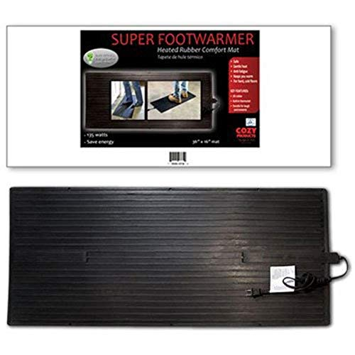 "Cozy Products Electric Foot Warmer Mat - Heated Rubber Pad, Small Portable Floor Heater, For Home, Office, Garage, Car Use, 120 Volts, 8 lbs, 36.5"" x 16"" x 0.25"", Black"