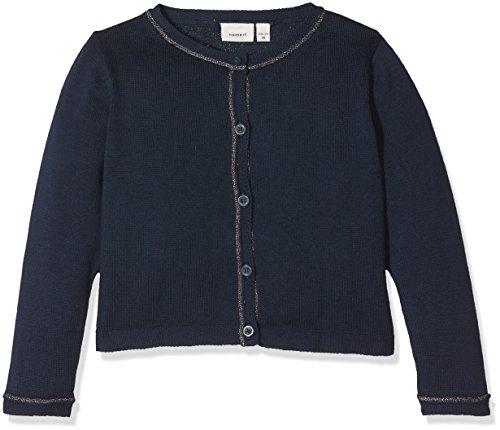 Name It Nitfihalo Ls Short Knit Card F Mini Gilet, Gris (Dress Blues), 98 Bébé Fille