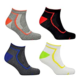12 Pairs Mens Sport Performance Cushioned Trainer Low Cut Trainer Socks