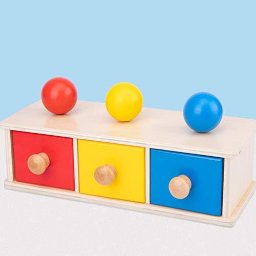 TOYANDONA - Caja de permanencia para objetos montessori de madera con bandeja y pelota para niños, juguetes educativos precoces (cajón de bolas de tres colores)