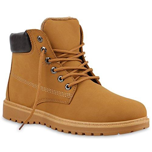 stiefelparadies Herren Worker Boots Outdoor Schuhe Profilsohle Gefüttert 123788 Hellbraun Autol 42 Flandell