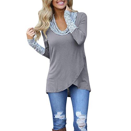 VEMOW Heiße verkaufende Damen-Frauen-Sommer-Herbst-beiläufiger Oansatz Streifen-langes Hülsen-Sweatshirt-Pullover übersteigt Blusen-HemdGrau42 DE/M CN