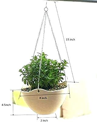 Home Decor Stuff Marvel UV Treated Hanging Plastic Flower Pots with Hanging Chains for Balcony Plants Garden Decor (Pack of 5) White Color
