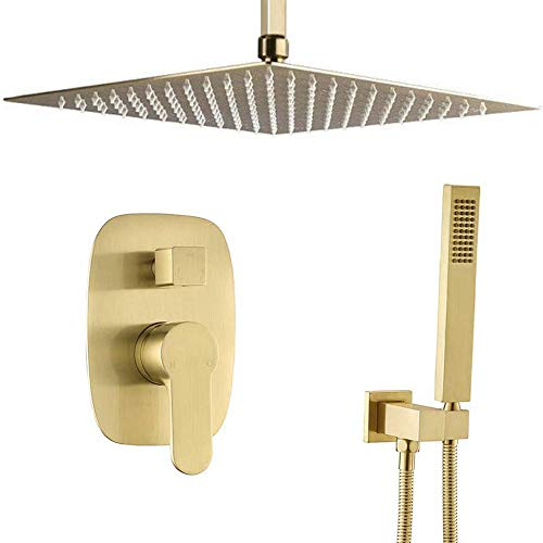 AYIVG Bathroom Brass 10 Inch Ceiling Wall Mount Rainfall Shower System Mixer Set (Ceiling Mount, Brushed Gold)